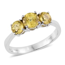 RHAPSODY 950 Platinum 1.75 Ct AAAA Chanthaburi Yellow Sapphire three stone Ring