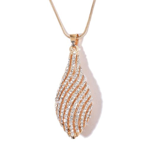 Designer Inspired-AAA White Austrian Crystal Pendant With Chain in Yellow Gold Tone