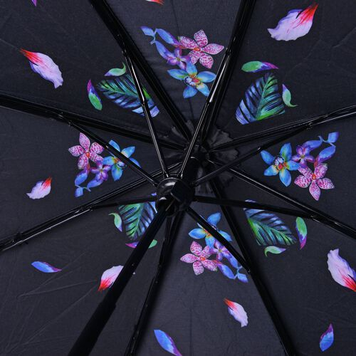 Black, Blue and Multi Colour Floral Pattern Three Fold Umbrella with Ultaviolet protective Coating (Size 24.50 Cm)