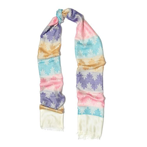 Cream, Purple and Multi Colour Reversible Scarf with Fringes (Size 180X70 Cm)