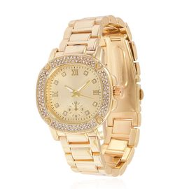 GENOA Japanese Movement Roman Numerals Watch with White Austrian Crystal in Yellow Gold Tone and Stainless Steel Back