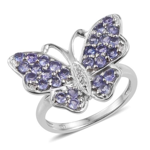 Tanzanite (Rnd), Natural Cambodian Zircon Butterfly Ring in Platinum Overlay Sterling Silver 1.500 Ct.