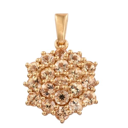 Imperial Topaz (Rnd) Floral Pendant in 14K Gold Overlay Sterling Silver 2.500 Ct.