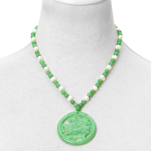 Creature Couture Hand Carved Green Jade and Fresh Water White Pearl Running Horse Necklace (Size 18) in Rhodium Plated Sterling Silver 210.000 Ct.