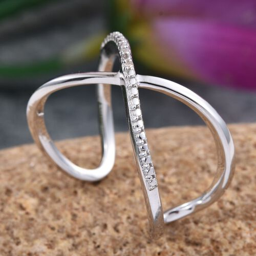Diamond (Rnd) Criss Cross Ring in Platinum Overlay Sterling Silver