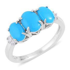 Arizona Sleeping Beauty Turquoise (Ovl), Diamond Ring in Platinum Overlay Sterling Silver 1.950 Ct.