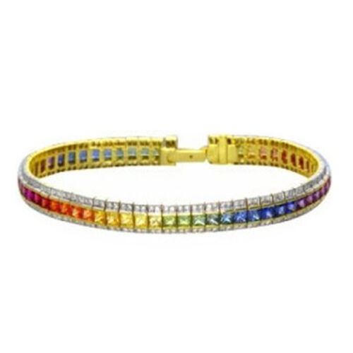 Multi Sapphire (Sqr), Diamond Bracelet (Size 8.5) in 14K Gold Overlay Sterling Silver 10.600 Ct.