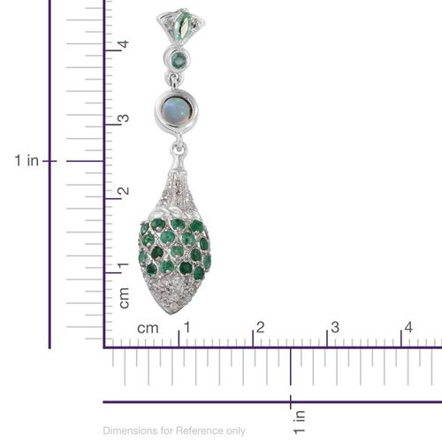 GP Kagem Zambian Emerald (Mrq), Ethiopian Welo Opal, Kanchanaburi Blue Sapphire and White Topaz Earrings (with Push Back) in Platinum Overlay Sterling Silver 2.100 Ct.