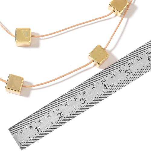 Triple Strand Geometric Cubes Necklace (Size 24 with 2 inch Extender) in Yellow Gold Plated