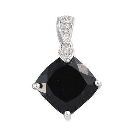 Black Tourmaline (Cush), Natural Cambodian Zircon Pendant in Platinum Overlay Sterling Silver 4.750 Ct.