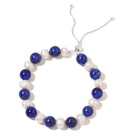 AAA Lapis Lazuli and Double Shine Fresh Water White Pearl Adjustable Bracelet (Size 6  inch with 2 inch Extender) in Rhodium Plated Sterling Silver 110.000 Ct.