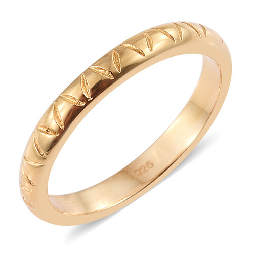 14K Gold Overlay Sterling Silver Band Ring, Silver wt. 2.70 Gms.