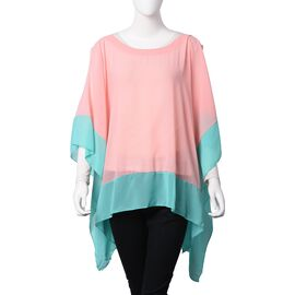 Pink and Turquoise Green Colour Poncho (Size 118x70 Cm)