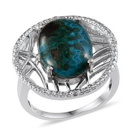 Table Mountain Shadowkite (Ovl 10.25 Ct), Diamond Ring in Platinum Overlay Sterling Silver 10.270 Ct. Silver wt. 6.38 Gms.