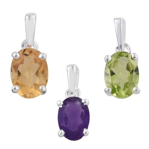Set of 3 - Citrine (Ovl), Amethyst and Hebei Peridot Solitaire Pendant in Sterling Silver