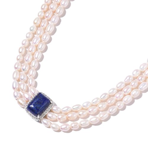 Triple Strand High Lustre Pearl Necklace (36 Inch) with Lapis Lazuli and Natural White Cambodian Zircon in Rhodium Plated Sterling Silver.