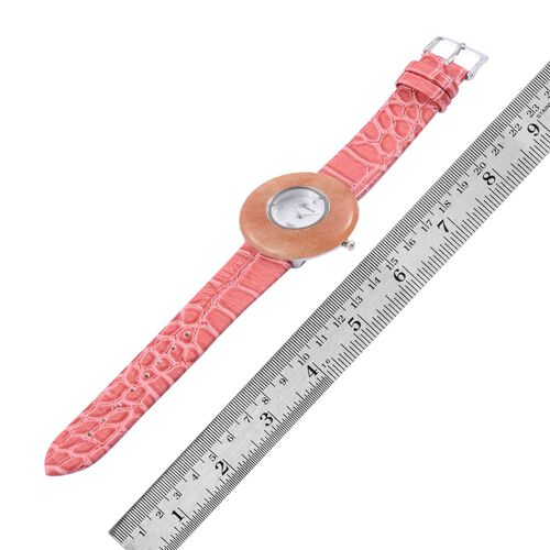 GENOA Japanese Movement Peach Quartzite, White Austrian Crystal Studded Water Resistant Watch with Stainless Steel Back and Rose Red Strap 25.000 Ct.