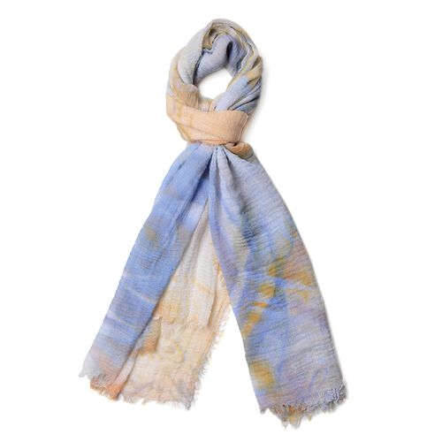 Orange, Blue and Multi Colour Butterfly and Rose Flower Pattern Scarf (Size 180x90 Cm)
