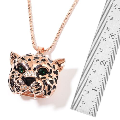White and Green Austrian Crystal Leopard Head Pendant With Chain