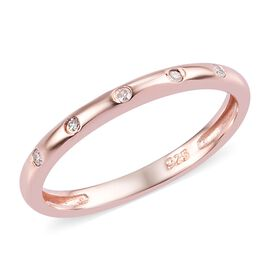 Diamond Stacker Button Band Ring in Rose Gold Plated Silver