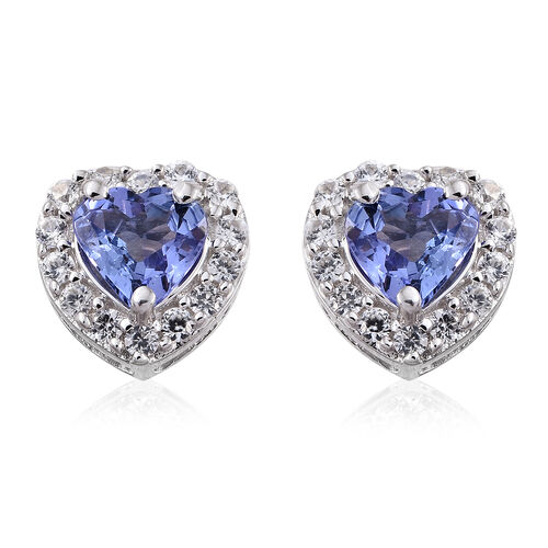 9K White Gold 1 Ct AA Tanzanite Heart Stud Earrings (with Push Back) with Natural Cambodian Zircon
