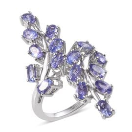 Tanzanite (Ovl) Leaves Crossover Ring in Platinum Overlay Sterling Silver 3.750 Ct.