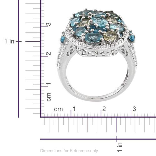 Paraibe Apatite (Ovl), Ocean Blue Apatite, Madagascar Yellow Apatite, Malgache Neon Apatite and Diamond Ring in Platinum Overlay Sterling Silver 3.810 Ct.