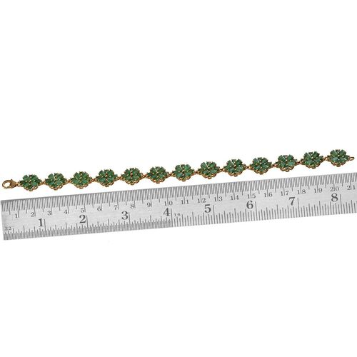 AAA Kagem Zambian Emerald (Pear) Floral Bracelet in 14K Gold Overlay Sterling Silver (Size 8) 14.750 Ct.