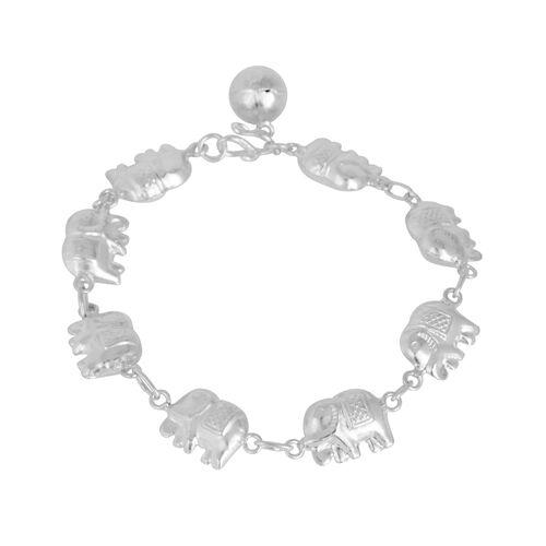Thai Sterling Silver Elephant Bracelet (Size 7), Silver wt 9.91 Gms.