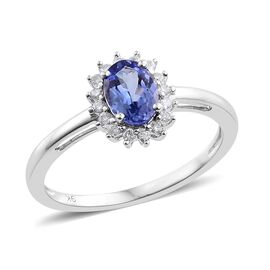 9K White Gold 1 Carat AA Tanzanite Halo Ring with Diamond