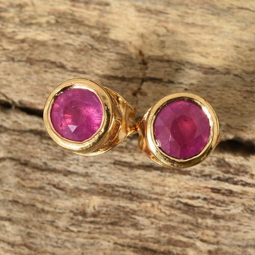 African Ruby (Rnd) Stud Earrings (with Push Back) in 14K Gold Overlay Sterling Silver 0.750 Ct.