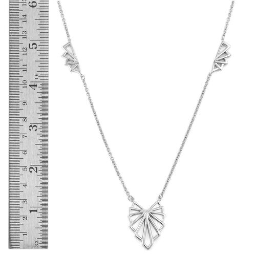 LucyQ Art Deco Necklace (Size 16 with 4 inch Extender) in Rhodium Plated Sterling Silver, Silver wt 13.29 Gms.