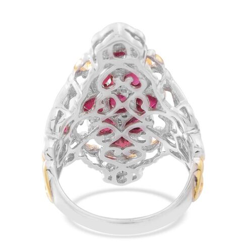 AAA African Ruby (Ovl), Burmese Ruby Ring in Rhodium and Gold Overlay Sterling Silver 5.000 Ct.