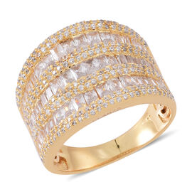ELANZA AAA Simulated White Diamond (Bgt) Ring in Yellow Gold Overlay Sterling Silver