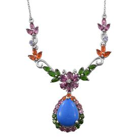 Ceruleite (Pear 7.20 Ct), Rhodolite Garnet, Russian Diopside, Pink Tourmaline and Multi Gem Stone Floral and Leaves Necklace (Size 18) in Platinum Overlay Sterling Silver 13.500 Ct.