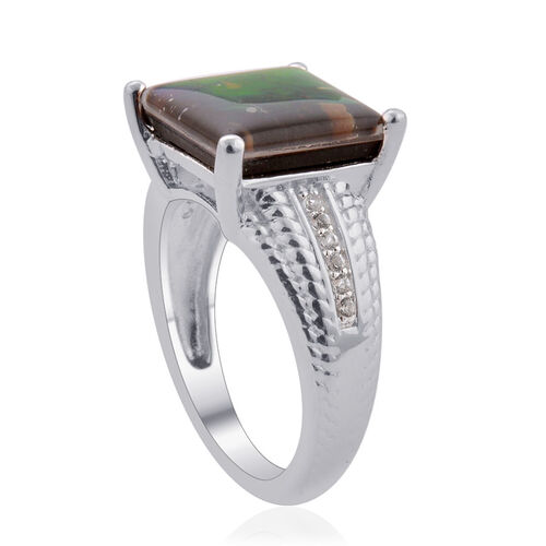 Tucson Collection Canadian Ammolite (Sqr 3.25 Ct), White Topaz Ring in Platinum Overlay Sterling Silver 3.300 Ct.