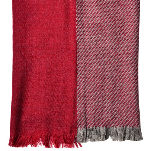 Designer Inspired-Red and Grey Colour Stripes Pattern 3 Way Wearable Scarf with Fringes (Size 200X75 Cm)
