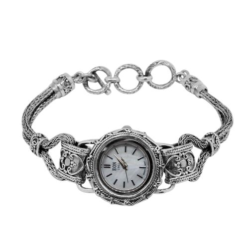 (Option 2) Swiss Movement Designer Inspired Hand Made Sterling Silver White Dial Watch with Scratch Resistant Glass Silver wt. 26.00 Gms.