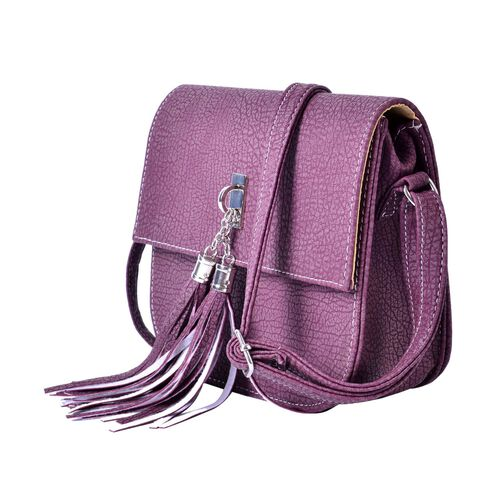 Deep Plum Colour Crossbody Bag with Adjustable Shoulder Strap with Tassels (Size 20x18x6.6 Cm)