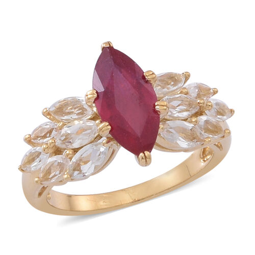 African Ruby (Mrq 3.00 Ct), White Topaz Ring in 14K Gold Overlay Sterling Silver 4.500 Ct.