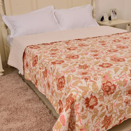 King Size Red, Cream and Multi Colour Floral and Leaves Printed Microfiber Quilt (Size 260X240 Cm)