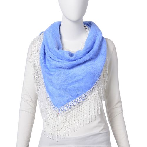 Designer Inspired- Sky Blue Colour Gypsy Style Triangle Scarf with Tassels (Size 116x66 Cm)