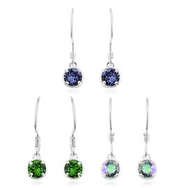 Set of 3 J Francis Crystal from Swarovski - Fern Green, Paradise Shine and Tanzanite Colour Crystal Hook Earrings in Sterling Silver