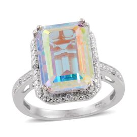 Mercury Mystic Topaz (Oct), Natural Cambodian Zircon Ring in Platinum Overlay Sterling Silver 9.250 Ct.