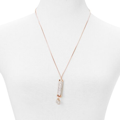 White Austrian Crystal Necklace (Size 35) in Rose Gold Tone