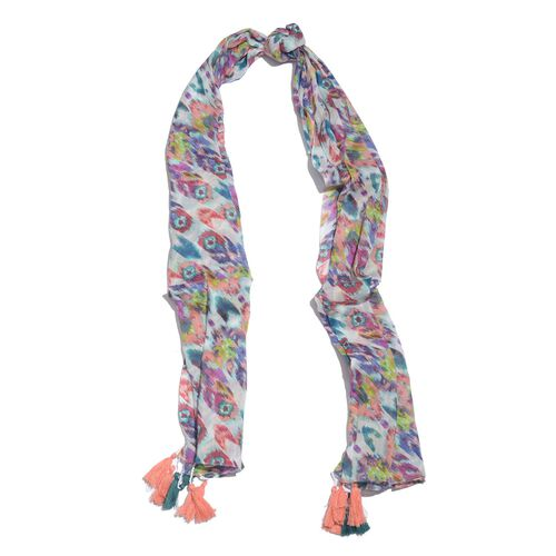 Designer Inspired - 100% Cotton Red, Blue and Multi Colour Printed Scarf with Tassels (Size 210x180 Cm)