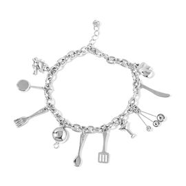Silver Gold Plated Stainless Steel Bracelet (Size 8) with Kitchen Kit Charms