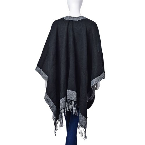 Black and Grey Colour Poncho with Fringes (Size 133x70 Cm)
