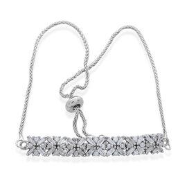 Designer Inspired-Diamond (Rnd and Bgt) Adjustable Bracelet (Size 6.5 to 8.5) in Platinum Overlay Sterling Silver 1.000 Ct.