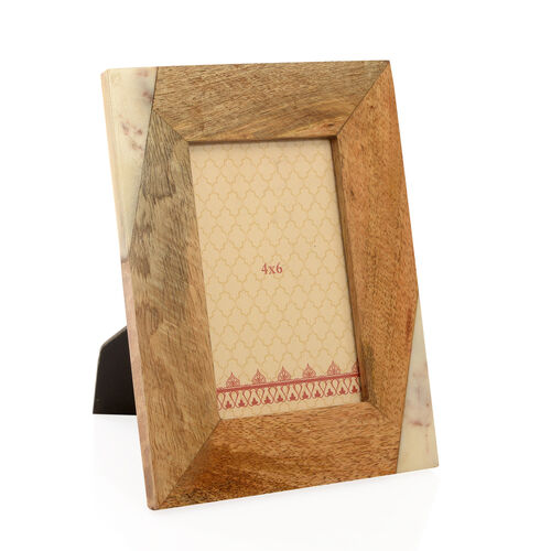Home Decor - Wooden and Marble Photo Frame (Size 4X6 inch)